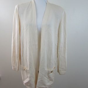 St. John Basics Ivory Cream Open Cardigan L